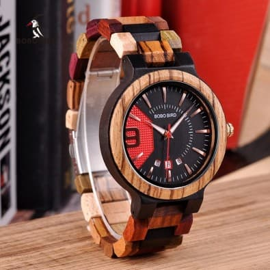 Original men's watch large dial and wood bralelet