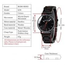 Men's metal watch with wooden bracelet