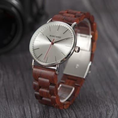 Montre mixte boitier rond métal bracelet bois marron ou noir