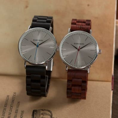 Mixed watch case round metal bracelet brown or black wood