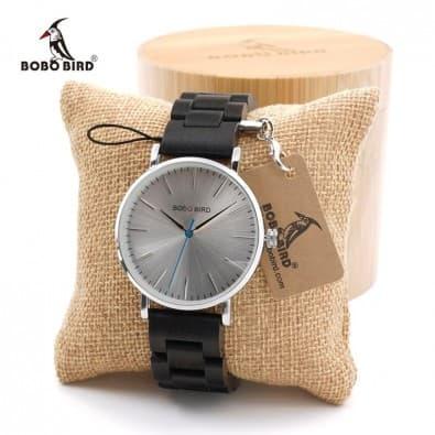 Mixed watch case round metal bracelet brown or black wood