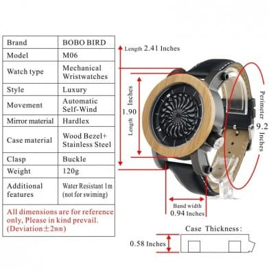 Men's mechanical design wood watch
