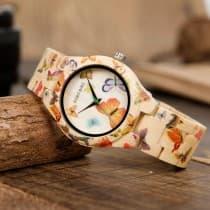 Woman's watch case bamboo bracelet wood motifs butterflies