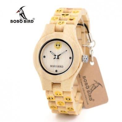 Montre design femme émoticônes jaunes boitier bambou et bracelet bois