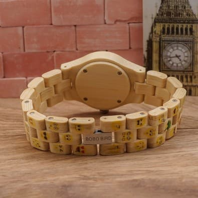 Woman's yellow emoticons watch case with bamboo and wooden bracelet
