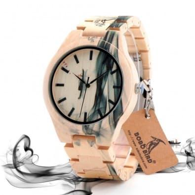 Montre homme design bois érable motif personnalisé