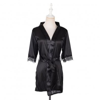 -length kimono satin bathrobe with matching lace trim