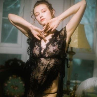 Long negligee black transparent lace