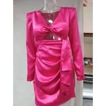 Pink satin sexy dress with long sleeves