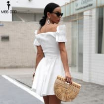 Summer dress short back square and very low neckline