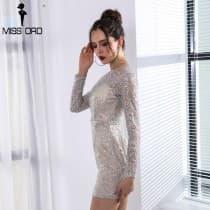 Short dress glamorous round neck silver gray
