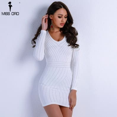 Robe blanche sexy courte manches longues