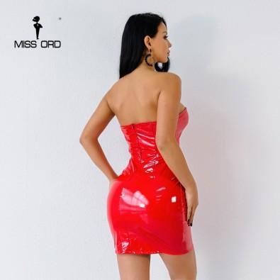 Sleeveless latex short dress
