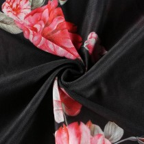 Black transparent top with pink flower print