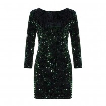 Short sequined dress with scalloped back