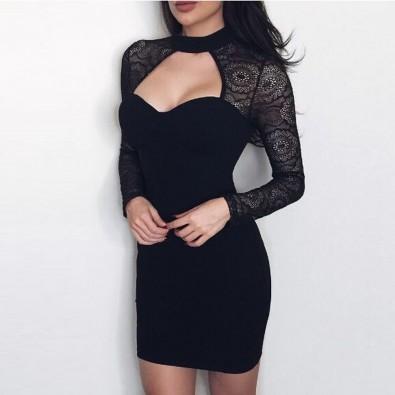 Robe sexy moulante noire manches dentelle