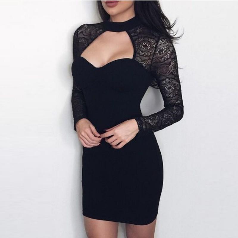 78f821300dc533 Robe sexy moulante noire manches dentelle
