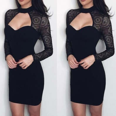 Sexy dress tight black lace sleeves