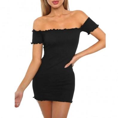 Petite robe noire moulante manches courtes