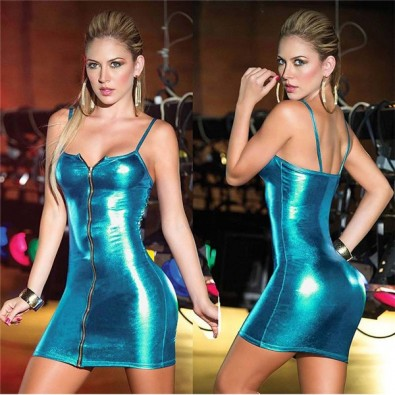 Shiny bodycon dress with thin straps