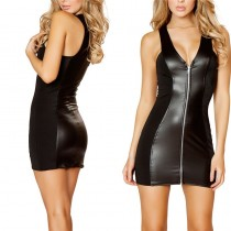 Black tight dress pvc in front behind