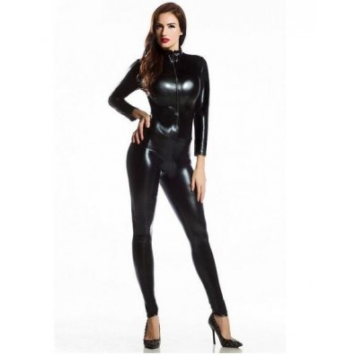 Full black latex jumpsuit