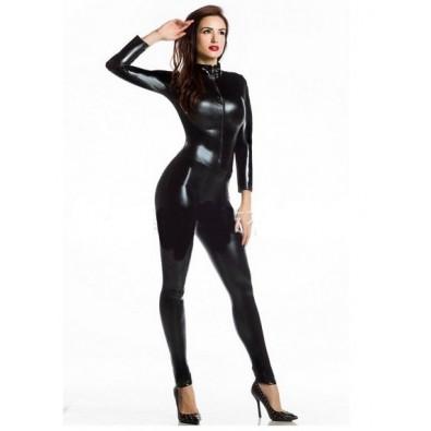Full black latex jumpsuit
