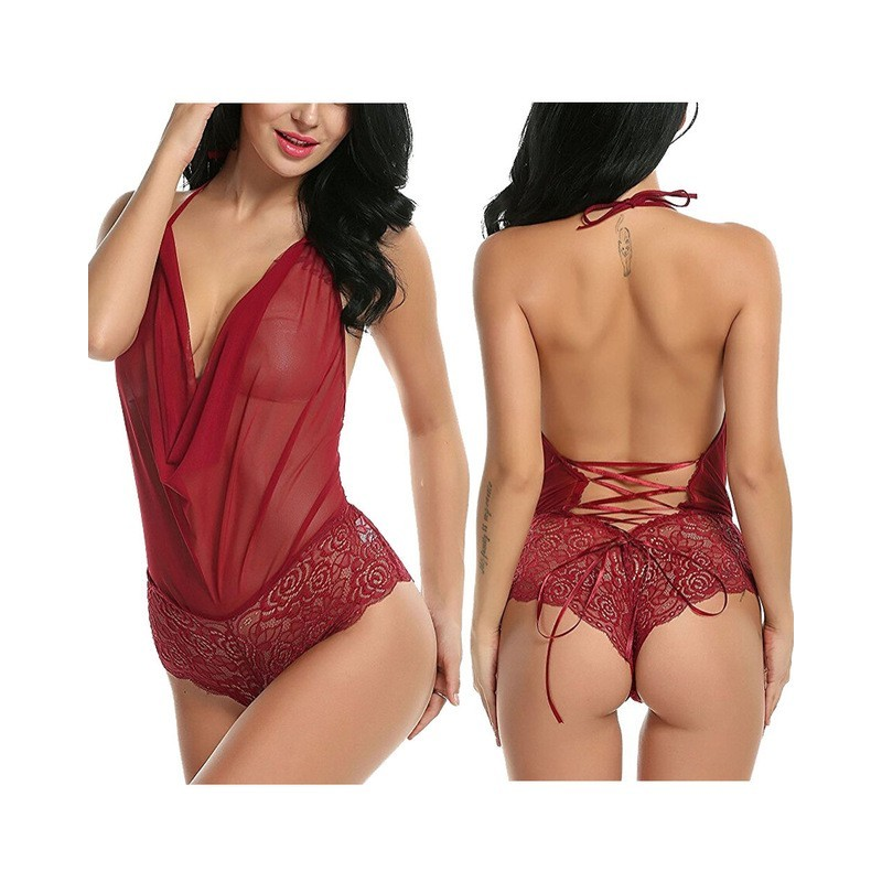 Transparent lightweight bodysuit laces on the back