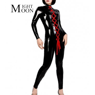 Black latex pantsuit one size