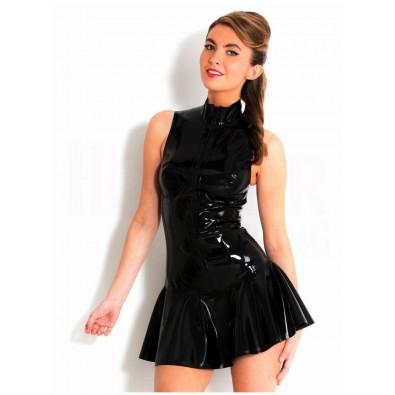 Petite robe noire latex zippée devant