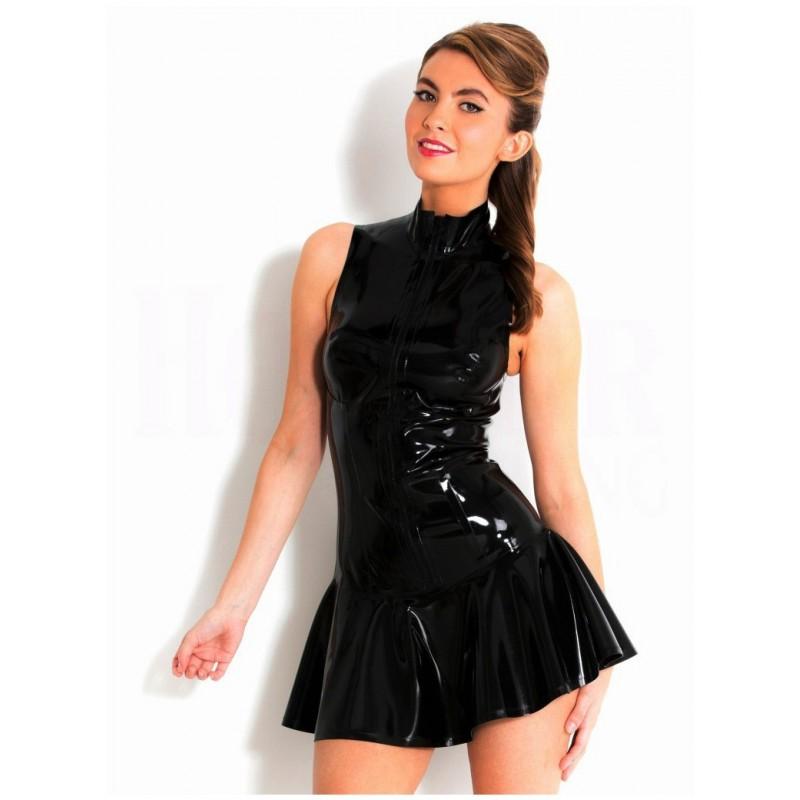 Little black latex dress zipped in front
