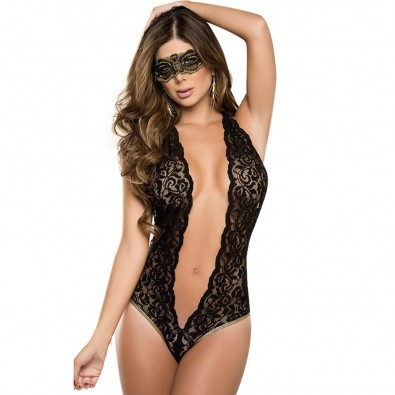 Black lace bodysuit very indented in front and behind