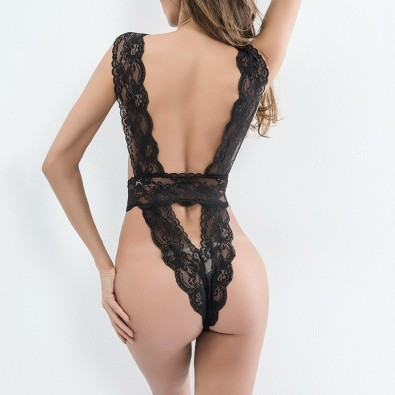 Sexy black body very indented lace