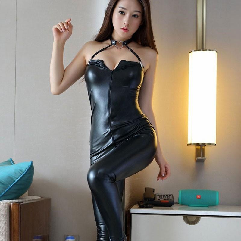 Black sexy latex jumpsuit