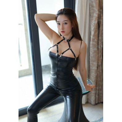 Black sexy latex jumpsuit