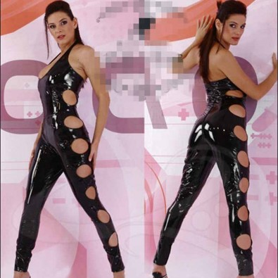 Sleeveless shiny latex jumpsuit