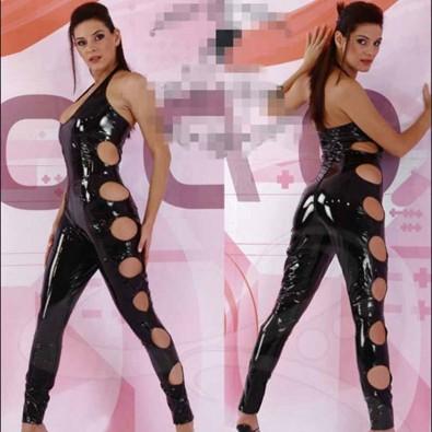 Sleeveless shiny latex jumpsuit