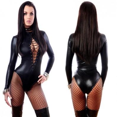 Body sexy polyester noir fermeture à lacet