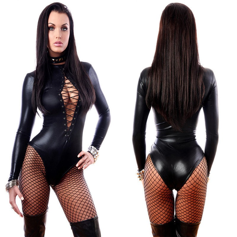 Black sexy bodysuit lace closure