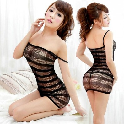 Short sexy black seamless mesh dress