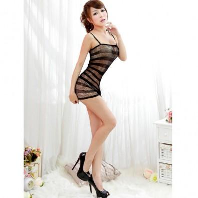 Short sexy black seamless mesh dress